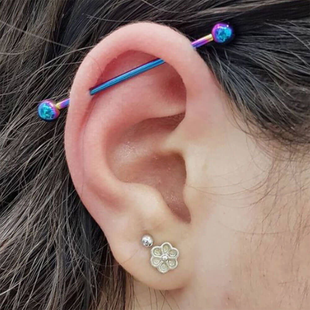 Gold Plated Multiple Shaped Leaves Industrial Barbell