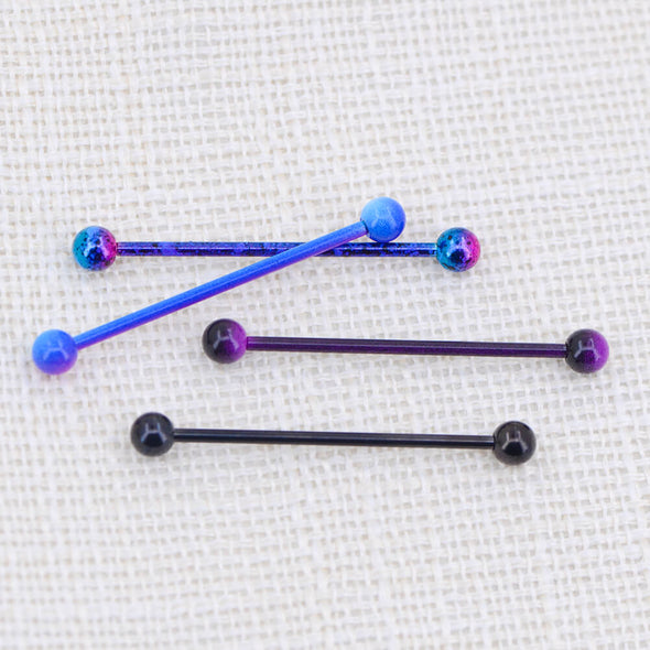 14G Purple and Black Plated Industrial Barbell Pack - OUFER BODY JEWELRY