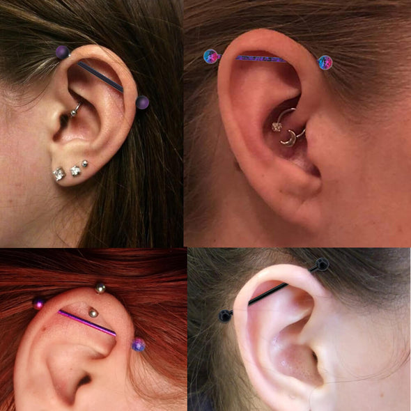 industrial barbell piercing
