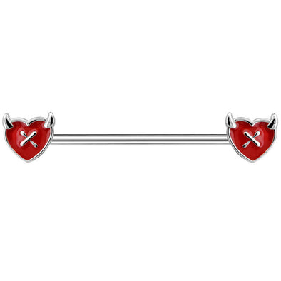 14G 38mm Heart Red Devil Industrial Piercing Jewelry - OUFER BODY JEWELRY