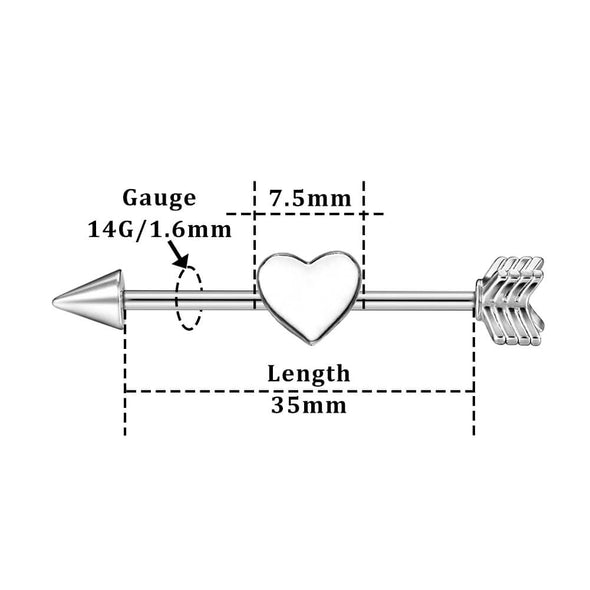 14g arrow industrial barbell jewelry