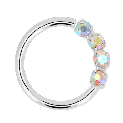 Nose Hoop Sparkling Clear CZ Helix Daith Tragus Piercing Jewelry