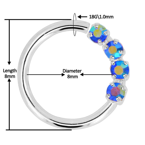 18G Sparkling Clear CZ Septum Hoop Helix Jewelry - OUFER BODY JEWELRY