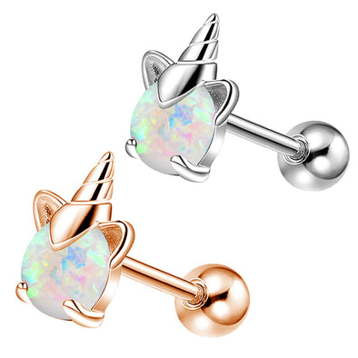 16G Stainless Steel Colorful Opal Cute Unicorn Cartilage Stud - OUFER BODY JEWELRY