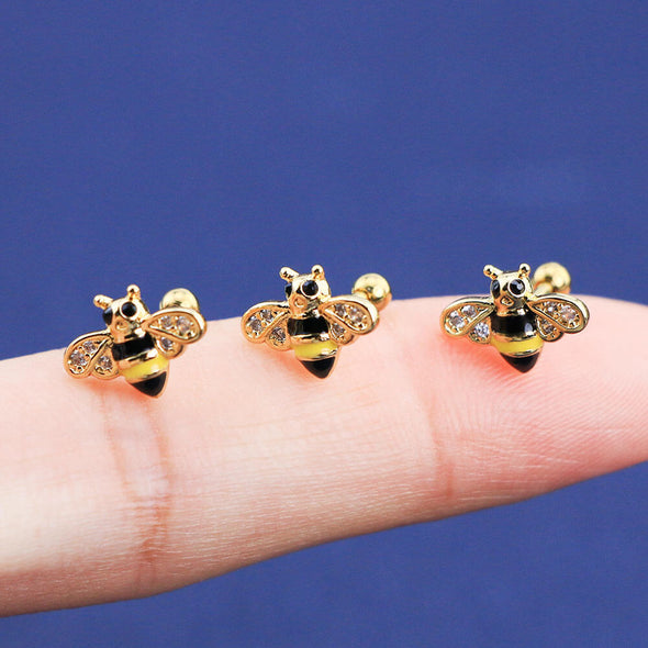 16G Golden Bee Cartilage Piercings Helix Daith Tragus Earring - OUFER BODY JEWELRY