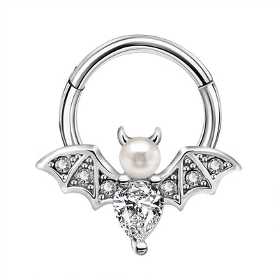 16G CZ Pearl Bat Septum Ring - OUFER BODY JEWELRY