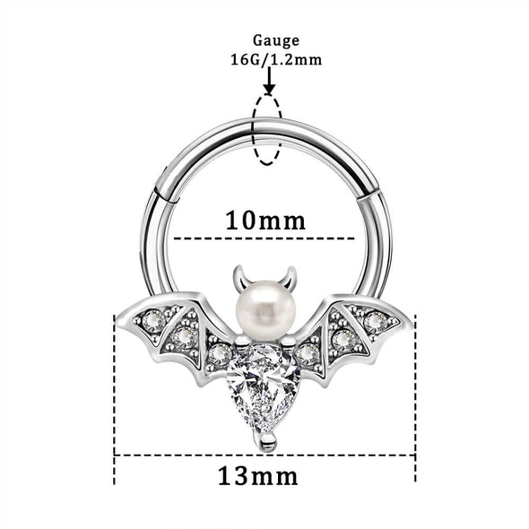 16G CZ Pearl Bat Daith Helix Tragus Earring Septum Nose Ring