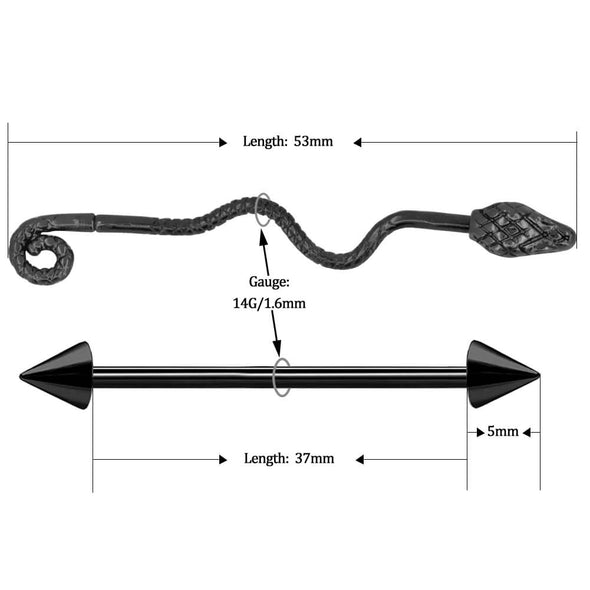 14G Black Wave Snake and Spike Industrial Barbell Pack - OUFER BODY JEWELRY