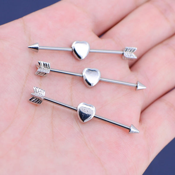 14G Silvery Tone Cupid's Arrow Industrial Barbell - OUFER BODY JEWELRY