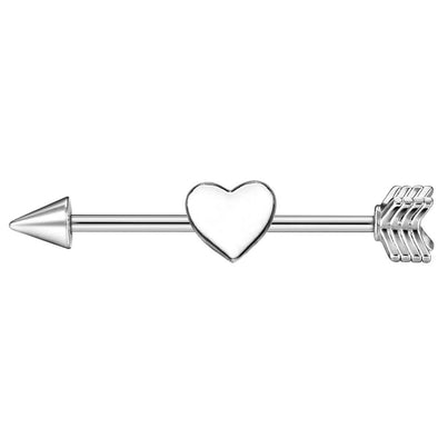 14G Silvery Tone Cupid's Arrow Industrial Barbell Body Jewelry