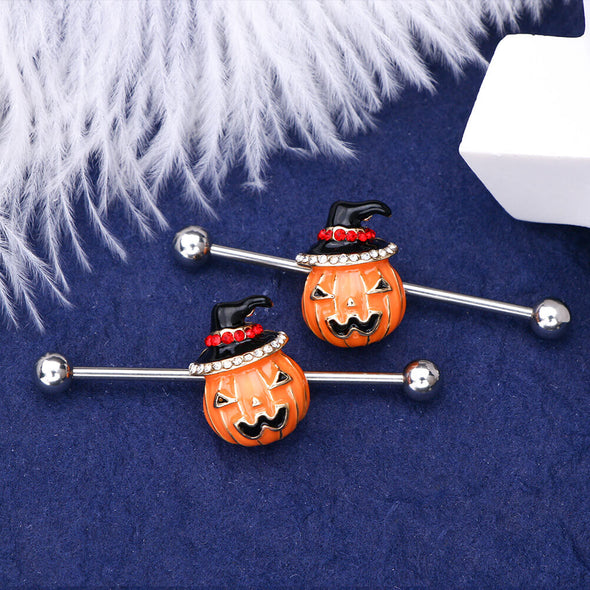 14G Pumpkin Industrial Jewelry 38mm Straight Industrial Barbell - OUFER BODY JEWELRY