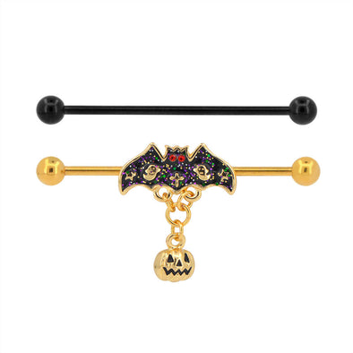 14G Pumpkin and Bat Dangle Industrial Barbell Set of 2 - OUFER BODY JEWELRY
