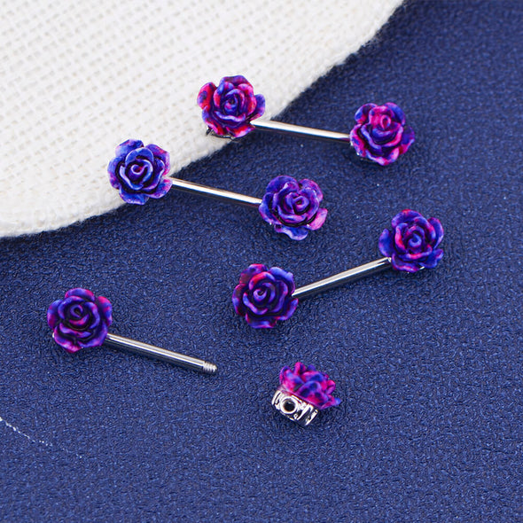 oufer purple rose nipple rings