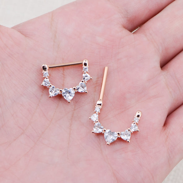 2pcs 14G Rose Gold Surgical Steel CZ Nipple Clicker Jewelry