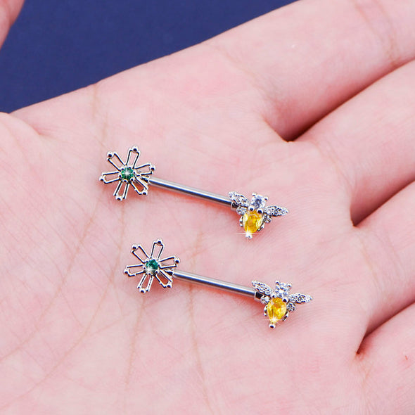 2PCS 14G CZ Green Flowers Yellow Bees Cute Nipple Rings - OUFER BODY JEWELRY