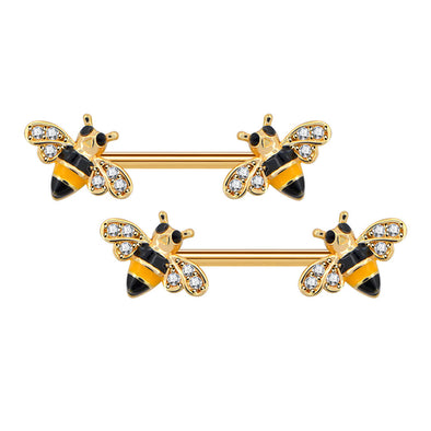 14G Crystal CZ Golden Honeybee Nipple Barbell Jewelry - OUFER BODY JEWELRY