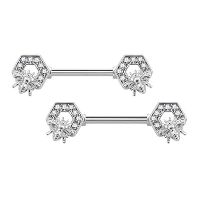 14G CZ Bee-Shaped Hexagon Nipple Ring Bars - OUFER BODY JEWELRY
