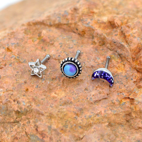 3PCS 18G Nose Rings Sets Moon Star Marble Stone Nose Stud - OUFER BODY JEWELRY