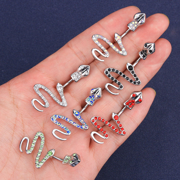 14G Slithering Snake Belly Button Ring with Clear CZ Gem