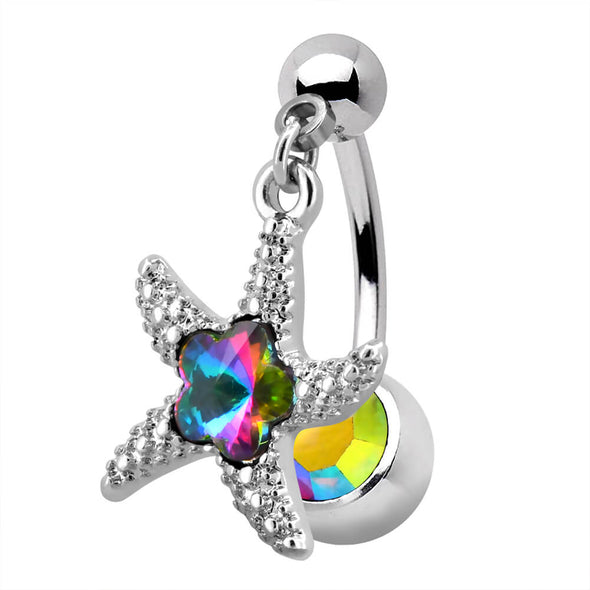 14G Purple CZ Starfish Top Dangle Belly Button Ring - OUFER BODY JEWELRY