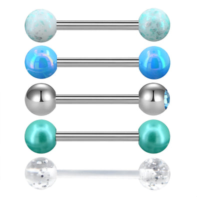 5PCS Tongue Barbell 14G Blue Green Splatter Gem Piercings