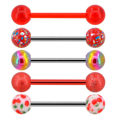 14G 5Pcs Red Splatter Tongue Bars Pack - OUFER BODY JEWELRY
