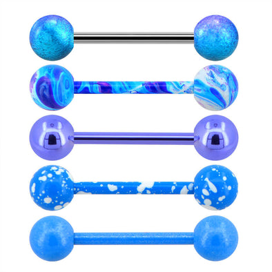 5PCS 14G Blue Splatter Tongue Bars - OUFER BODY JEWELRY