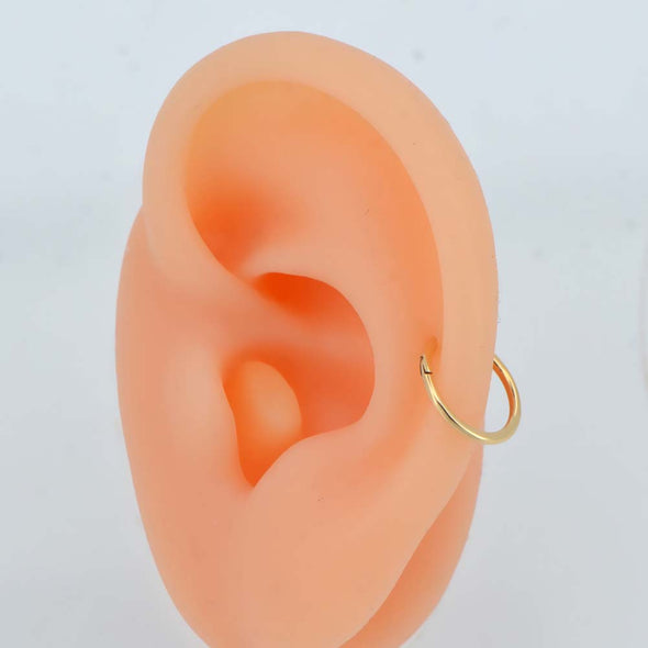 14K Gold Hinged Segment Hoop Cartilage Earring 16G Nose Ring - OUFER BODY JEWELRY