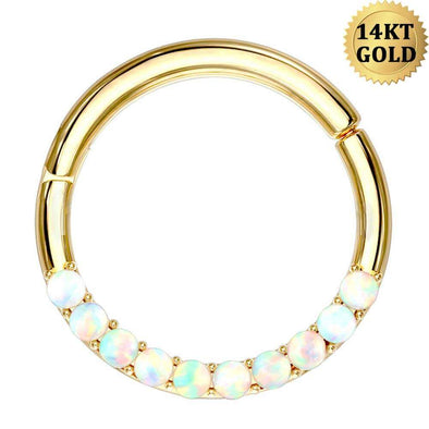 14KT Solid Gold Opal Lined Set Hinged Segment Helix Earrings Hoop Rings Nose Rings Daith Trgaus Earring Body Jewelry