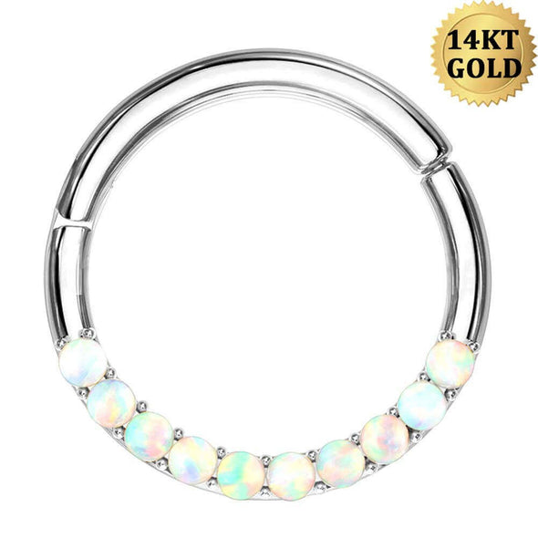 14K White Gold Segment Septum Ring 16G Front Opal Daith Earring - OUFER BODY JEWELRY