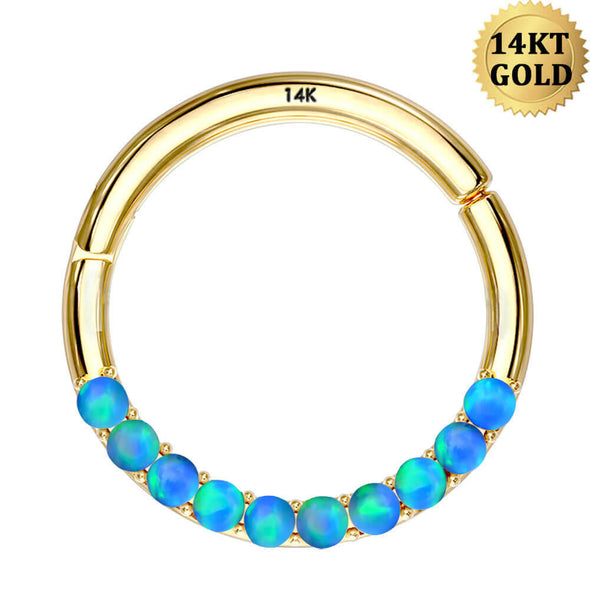 14K Gold Cartilage Hoop 16G Blue Opal Segment Septum Rings - OUFER BODY JEWELRY
