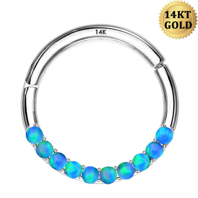 14K White Gold Daith Earring Opal 16G Segment Septum Ring - OUFER BODY JEWELRY