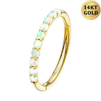 14KT Solid Gold Opal Lined Set Hinged Segment Helix Hoop Nose Rings Daith Earring Body Jewelry