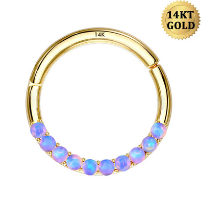 14KT Gold Purple Opal Septum Ring 16G Segment Daith Hoop - OUFER BODY JEWELRY