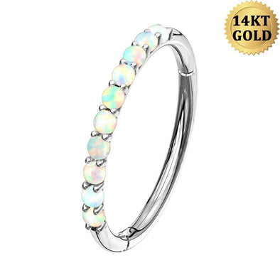 14KT Platinum Opal Lined Set Hinged Segment Helix Hoop Nose Rings Daith Earring Body Jewelry