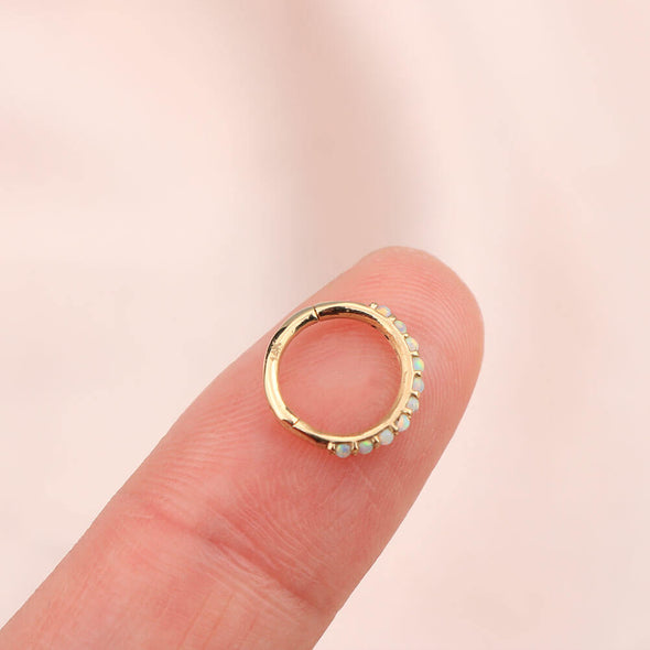 14K Solid Gold Daith Earring Side Opal 16G Hinged Segment Hoop Rings - OUFER BODY JEWELRY