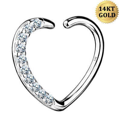 14K White Gold Heart Daith Jewelry 16G CZ Helix Earrings - OUFER BODY JEWELRY