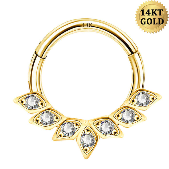 14K Gold Daith Earring 16G CZ Cluster Hinged Segment Hoop - OUFER BODY JEWELRY