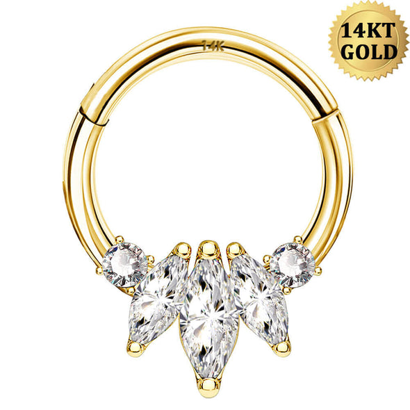 14KT Gold Septum Ring Oval CZ Cluster 16G Daith Earring - OUFER BODY JEWELRY