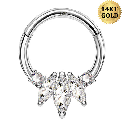 14KT White Gold Hoop Earring 16G Oval CZ Septum Jewelry - OUFER BODY JEWELRY