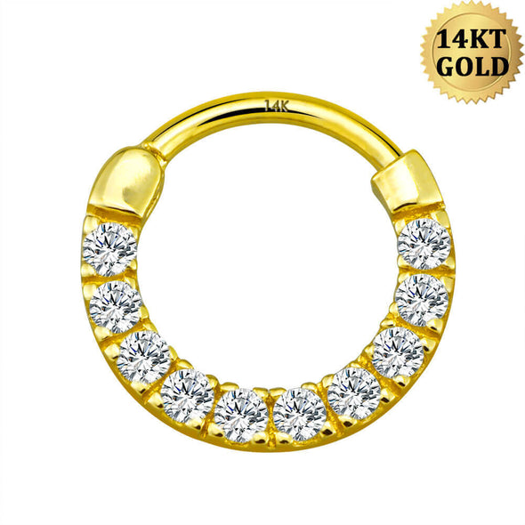14KT Real Gold Septum Ring 16G Clear CZ Helix Earrings - OUFER BODY JEWELRY