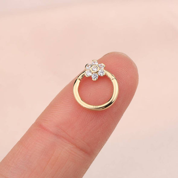 14K Gold Conch Hoop CZ Flower 16G Segment Septum Ring - OUFER BODY JEWELRY