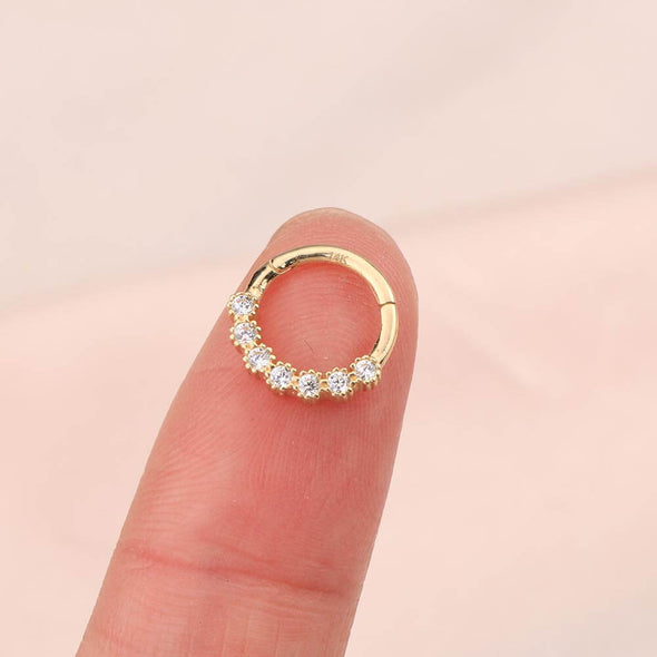 14K Gold Septum Clicker Nose Hoop 16G CZ Helix Tragus Earring - OUFER BODY JEWELRY