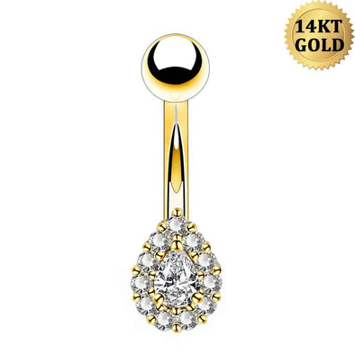 14G Solid Gold CZ Belly Bars Tear Drop Clear Cubic Zirconia Navel Ring Piercings Belly Button Body Jewellery