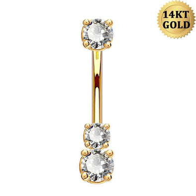 14K Real Gold Belly Ring 14G Three Round Solitaire CZ Navel Ring - OUFER BODY JEWELRY