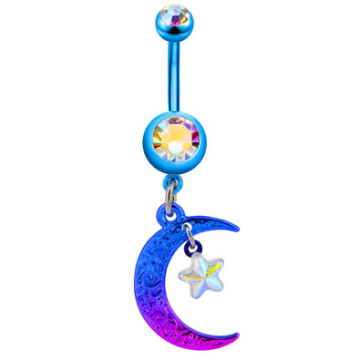 14G Blue Painted Steel Moon Star Dangle Belly Button Rings - OUFER BODY JEWELRY