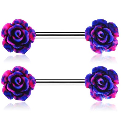 14G 316L Surgical Stainless Steel Rose Nipple Ring - OUFER BODY JEWELRY