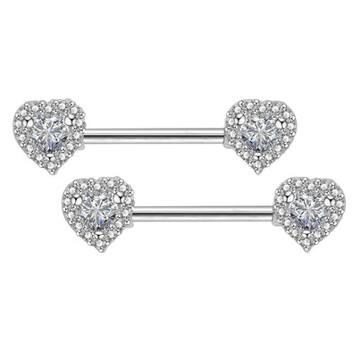 2Pcs 14G 316L Stainless Steel CZ Heart Nipple Ring - OUFER BODY JEWELRY