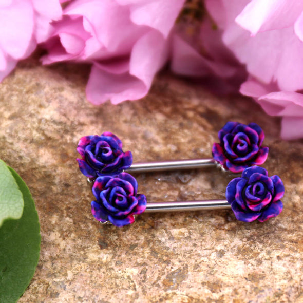 14G Rose Flower Nipple Ring Barbell Piercing