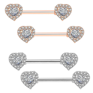 316L Stainless Steel 2 Peice Crystal Heart Industrial Bar Nipple Ring